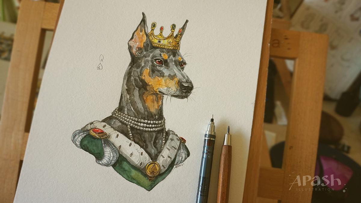 Картинката не може да има празен alt атрибут; името на файла е apash-illustration-dog-cards-poker-playing-dog-kingdom-Queen-of-Spades-dog-doberman-female-2.jpg